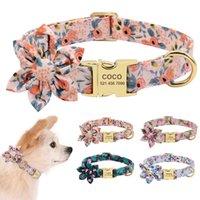 Accesorios para perros Perrito Perrito Cuello Cuello Custom Nylon Impreso Perro Placa de identificación Cuello Personalizado ID grabado Tag collares Pequeños perros