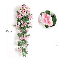 Fiore artificiale Rattan Flower Flower Flower Decoration Decorazione Parete Appeso Rose Decor per la casa Decor Accessori Matrimonio Fiori decorativi Corona OWE5046