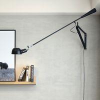 Dekoratif fiş duvar lambaları art deco aplikleri uzun ayarlanabilir salıncak kol beyaz siyah renk retro endüstriyel