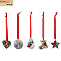 Sublimation Blank Pendant Heat Transfer Hanging Ornament Christmas sock heart round Tree Decoration with Red Hanging Rope DIY Crafts products