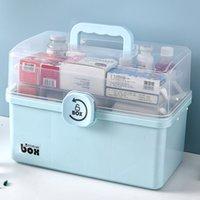3 Katmanlar Plastik Saklama Kutusu Tıbbi Kutu Organizatör Çok fonksiyonlu Taşınabilir Tıp Dolabı Aile Acil Durum Kiti Kutusu Dropship1 210309