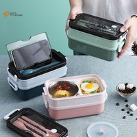 Dinnerware Sets Instgram 304 Stainless Steel Lunchbox Set Bento Box Metal Meal Prep Containers Thermal Insulation Snack Double-layer FoodSto