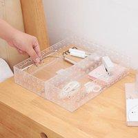 PS شفافة بسيط سطح المكتب تخزين مربع منتجات العناية بالبشرة مستحضرات التجميل مربعات ماكياج الاكريليك المطبخ غرفة المعيشة تخزين