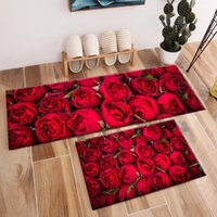 카펫 2pcs 빨간 장미 지역 양탄자와 꽃을위한 꽃 아기 홈 거실 룸 크리스탈 벨벳 침실 복도 주방 도어 바닥 매트