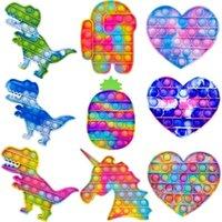 PUSH POP UP Party Rainbow Para eliminar el alivio de estrés de liberación brilla intensamente un juguete Squishy con ADD ADAHD OCD Calming Tiktok 2021