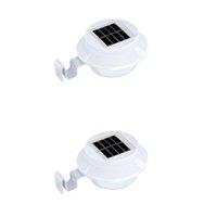 3LED 태양 램프 지붕 울타리 울타리 복도 야외 조명 IP65 조명 제어 벽 램프 따뜻한 화이트 크레스트 168