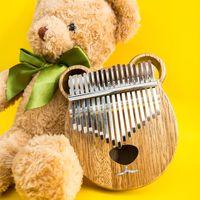 Kimi Kalimba Thumb Piano Ananas Kutusu Ayı Günlüğü Delikli Mini Parmak Piyanolar 17 Ton Tuşları Ahşap Malzeme Dokusu Özel