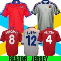1996 جمهورية التشيك الرجعية لكرة القدم جيرسي 96 97 نيدفيد بوبورسكي بيرجر خمر كلاسيكي لكرة القدم قميص