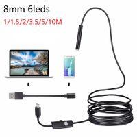 1m / 1.5m / 2m / 3.5m / 5m / 10m 케이블 USB 내시경 카메라 8mm 초점 렌즈 방수 6 LED 미니 USB 내시경 검사 카메라