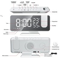 FM Radio LED Digital Smart Alarm Clock Watch for bedroom Table Electronic Desktop Clocks USB Wake Up Clock with Projection OWF10459