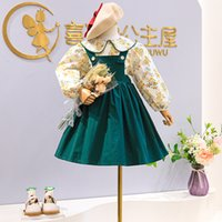 kids Clothing Sets girls outfits children Flowers Floral Long Sleeve Tops+strap dress 2pcs set Spring Autumn Boutique fashion baby clothes Z4363