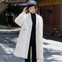2021 Kış kadın Uzun Kirpi Ceket Sıcak V Yaka Fermuar Kadın Yastıklı Pamuk Ceket Parkas Sonbahar Dış Giyim Casual Inkeo 1O082