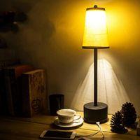 Table Lamps LED Bar Lamp Bedroom Restaurant Charging Fabric Iron Desk Living Room Night Bedside Lighting Fixtures Home Decor