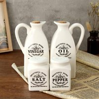 Storage Bottles & Jars 4pcs Ceramic Spice Jar Pepper Vinegar Oil Salt Bottle With Wooden Cork Kitchen Condiment Seasoning Pot Cooking Tool