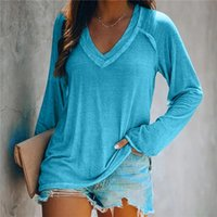 Women's Blouses & Shirts Oversized Blouse Women Basic V Neck Korean Clothes Roll Hem Solid Long Sleeve Ladies Tops Casual
