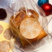 100 세트 명확한 비닐 봉지 캔디 롤리팝 쿠키 셀로판 가방 씰링 트위스트 넥타이 눈송이 스티커 토스트 빵 가방 Y0712