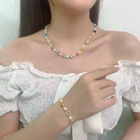 Chains Fashion Colorful Beads Necklace Style Single One Layer Natural Freshwater Pearl Choker For Women