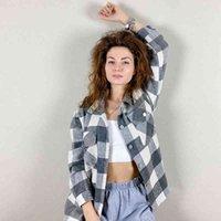 ZXQJ Streetwear Kadınlar Gri Ekose Kalın Gömlek Sonbahar Moda Bayanlar Cep Gömlek Kadın Chic Gevşek Üst Casual Kız Bluzlar