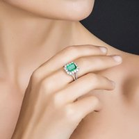 Cluster Rings Vintage 100% 925 Sterling Silver Emerald Gemstone Wedding Engagement Diamonds Square Fine Jewelry For Women Luxury Gift