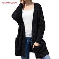 Sweaters Femmes Yummycook Automne Hiver Long-manches en laine à manches en laine de Cardigan Cardigan Cardigan Moyenne Longue Rib tricot Sweater Vêtements A183