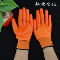 Полный нейлон висит перчатки из ПВХ Оранжевая пряжа красная погружение резьба резиновый GLO