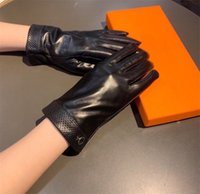 Fashion Windproof Leather Gloves Women Thick Plus Velvet Glove Comfortable Mittens Touch Screen Warm Plush Mitten With Gift Box