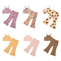 Clothing Sets FOCUSNORM 6 Colors Summer Kids Girls Clothes 2pcs Flowers Printed Strap Sleeveless Vest Tops Flare Pants Outfits 3-8Y