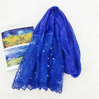 Rolled grass pearl lace flower cotton hemp scarf women's sunscreen shawl beach towel Muslim headscarf