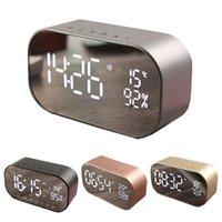 S2 블루투스 스피커 무선 미니 알람 시계 FM 라디오베이스 스피커 LED 디스플레이 알람 미러 시계 210310