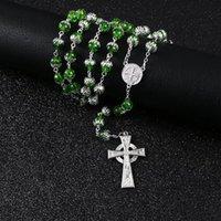 كومي خمر جولة الأخضر العشب ستون الخرزة الصليب قلادة قلادة الشواري الكاثوليكية قلادة طويلة المجوهرات بالجملة R-149