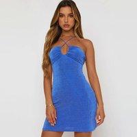 Casual Dresses Women Sexy Halter Bodycon Mini Dress Summer 2021 Y2K Sleeveless Backless Cutout Lace Up Tank E-Girl Streetwear