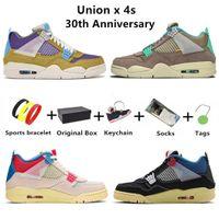 Union x 4 Mens basketskor 30-årsjubileum 4s män tränare sport sneakers öken moss turkos blå mörk iris taupe haze med låda raseri khaki roma grön 40-47