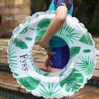 Kamizelka życia Boja Tropical Palm Tube Float 120 CM Giant Floral Print Nadmuchiwane Pływanie Pierścień 2021 EST Basen Pływające tratwa Circle Water Party T
