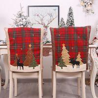 decorations Christmas forest Plaid chair set elk sticker Stool Set Home Restaurant Christmas atmosphere layout