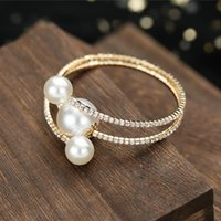 Bangle Pearl Bracelet Multi-Row Rhinestone With Adjustable Design Durable Long Lasting Comfortable To Wear Gift For Women