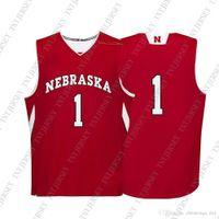 Barato Custom Nebraska Cornhuskers NCAA # 1 Costura vermelha do jérsei de basquetebol personalizado todo o nome XS-5XL