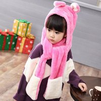 Scarves & Wraps Soft Warm Animal Cap Cute Cartoon Plush Hat Earmuffs With Long Scarf Gloves For Kids