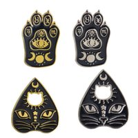 Pins, spille Gothic Magic Cat Brooch Spilla smalto Pin Witch Footprints Moon Star Gioielli