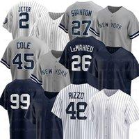 New 48 Anthony Rizzo York Baseball Jerseys 99 Aaron Judge 2 Derek Jeter 45 Gerrit Cole 26 Lemahieu 25 Gleyber Torres 13 Joey Gallo 11 Brett Gardner Clint Frazier