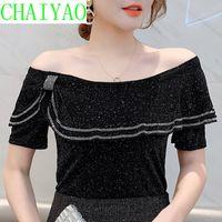 Women's T-Shirt Summer Korean Clothes Ruffles Mesh Girls Fashion Sexy Boat Neck Women Tops Short Sleeve Shiny Diamonds Tees 2021 T12910A