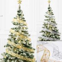 50 LED 5M Fairy Lights Strings Christmas Ribbon Bows With LED Christmas Tree Ornaments New Year Navidad Party Decor RRE10663