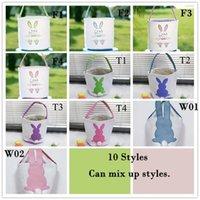EE.UU. Stock Easter Huevo Almacenamiento Canasta Conejito Conejito Ear Bucket Creativo Pascua Pascua Bolso con decoración de cola de conejo 8 estilos
