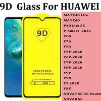 Huawei Mate 40 P40 Lite P SMART 2021 Y60 Y7A Y9A Y5P Y6P Y7P Y8P Y9P Y9X Y9 2020 Y8S Nova 8 9Dフルカバー強化ガラスプロテクター