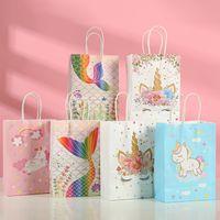 Sacs-cadeaux de papier kraft de 12pcs mixtes pour bébé Douche Emballage Boîtes à chocolat Mermaid Licorn Fête d'anniversaire Favoriser la boîte à bonbons