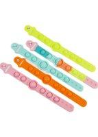 Sensory Color changing Bracelet Fidget Toys Push Bubble Popper Finger Silicone Rainbow Bubbles Bracelets Squeeze Game Simple Dimple Fidgets Relax Toy