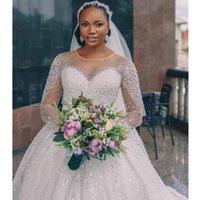 Luxury Wedding Dresses Scoop Neck Hollow Back Sweep Train Major Beading Sequin Chapel Garden Bridal Gown vestidos de novia
