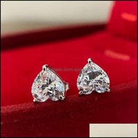 Stud Jewelrystud 100% 925 Sterling Sier Love Heart-Shaped Single Diamond 7*7 Earrings Ladies Engagement Gift Exquisite Jewelry Drop Delivery