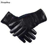 Harppihop Мужские натуральные кожаные перчатки настоящие овчины черные без сенсорного экрана перчатки мода бренд зима теплые варежки новые G1005 Y0910