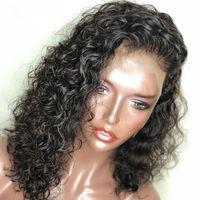 Короткие боб кружева передние человеческие волосы парик бразильские вьющиеся человеческие парики волос с волосами для детей для черных женщин 150 плотность короткого кружева парик