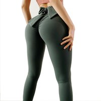 Women Yoga Pants with Bow-knot Sports Gym Wear Girls Leggings High Waist Elastic Fitness Lady Overall Full Tights Workout Butt Lift